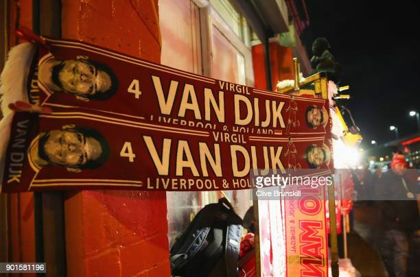 Virgil van Dijk scarves for sale prior to the Emirates FA Cup Third Round match between Liverpool and Everton at Anfield on January 5 2018 in...