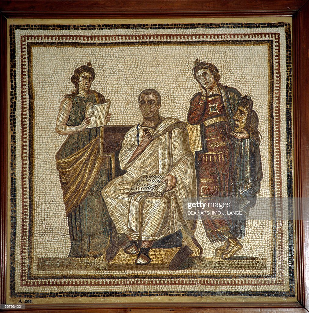Virgil writing the Aeneid, mosaic from Sousse : News Photo