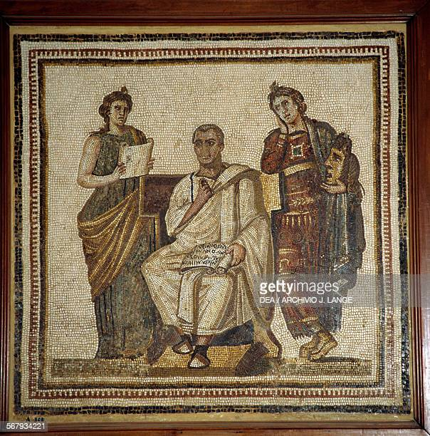 Virgil writing the Aeneid inspired by the muses Clio and Melpomene mosaic from Sousse Tunisia Roman civilisation 3rd century AD Tunis Musée National...