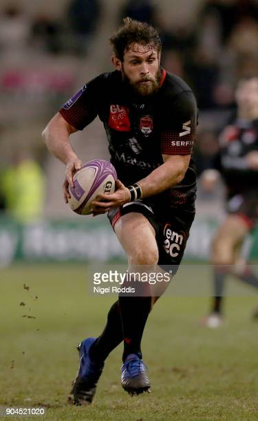 Virgile Lacombe of Lyon during the European Rugby Challenge Cup match between Sale Sharks and Lyon at the AJB Stadium on January 13 2018 in Salford...