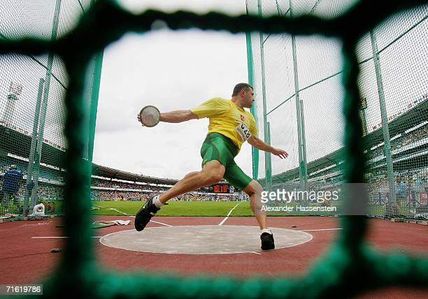 Virgilijus Alekna of Lithuania competes during the Men's Discus throw Qualifying Round on day four of the 19th European Athletics Championships at...