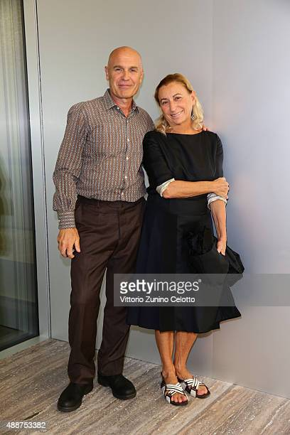 Virgilio Sieni and Miuccia Prada attend 'Atlante Del Gesto' Dance Project at Fondazione Prada on September 17 2015 in Milan Italy