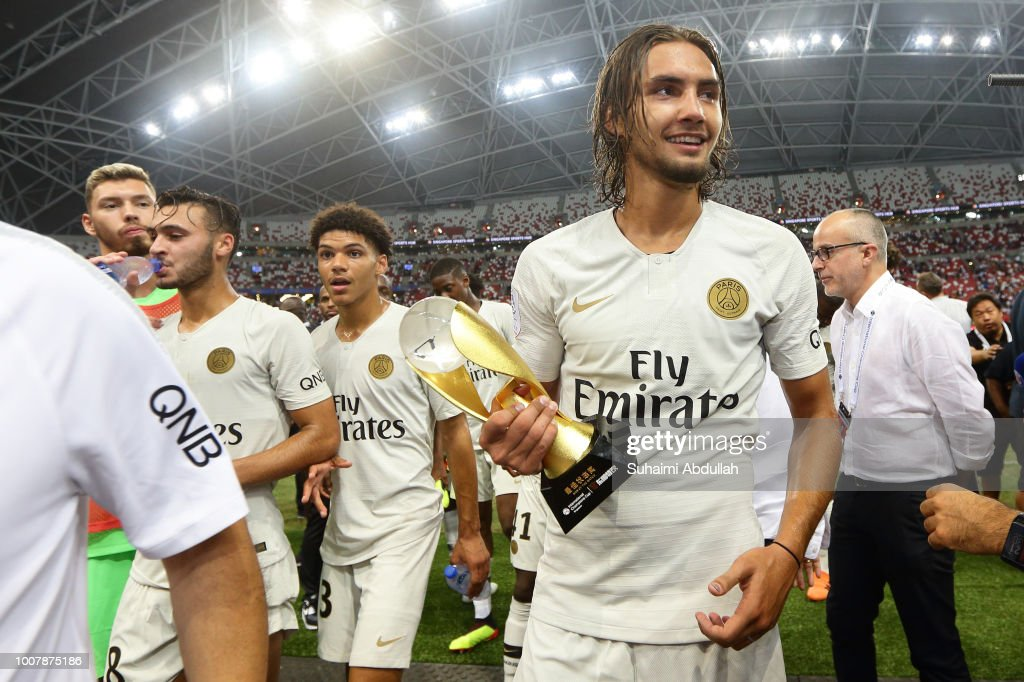 Virgiliu Postolachi of Paris Saint Germain is named man of the match during the International Champions Cup 2018 match between Atletico Madrid and Paris Saint Germain at the National Stadium on July 30, 2018 in Singapore.