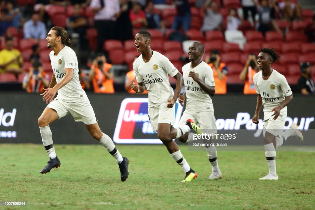 Virgiliu Postolachi of Paris Saint Germain reacts after scoring a goal during the International Champions Cup 2018 match between Atletico Madrid and Paris Saint Germain at the National Stadium on July 30, 2018 in Singapore.