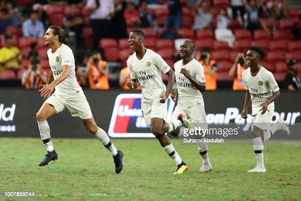 Virgiliu Postolachi of Paris Saint Germain reacts after scoring a goal during the International Champions Cup 2018 match between Atletico Madrid and...