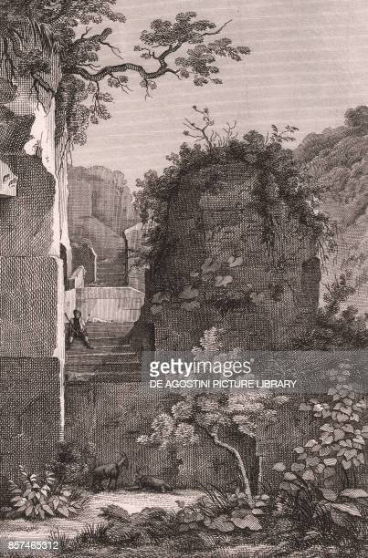Virgil's tomb near the Crypta Neapolitana Piedigrotta Naples Campania Italy copper engraving ca 29x195 cm from Corografia fisica storica e statistica...