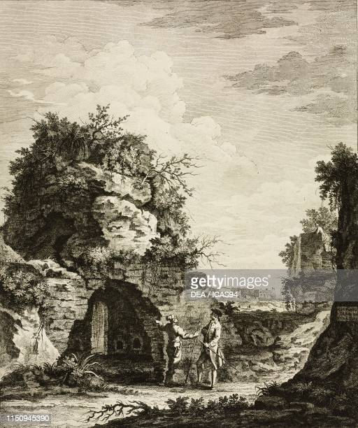 Virgil's tomb Roman burial vault Vergiliano Park in Piedigrotta Naples Campania Italy engraving by Giovanni Volpato from Antichita di Pozzuoli...