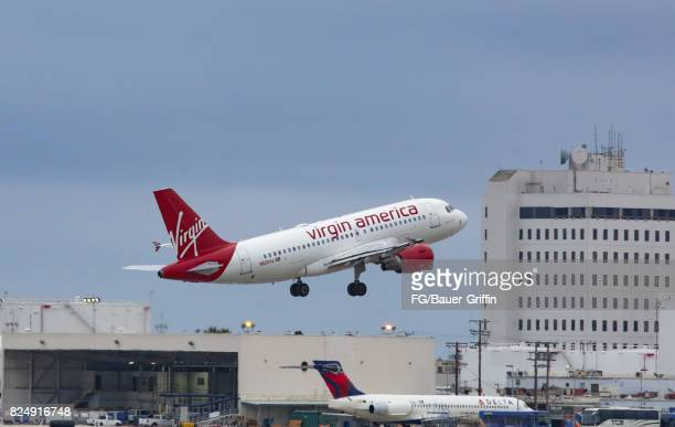 Virgin America A320 takes off from Los Angeles International Airport on July 30 2017 in Los Angeles California
