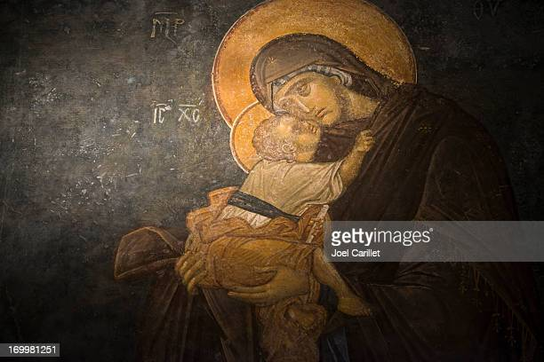 virgin and child fresco at chora church in istanbul - byzantine stock photos and pictures