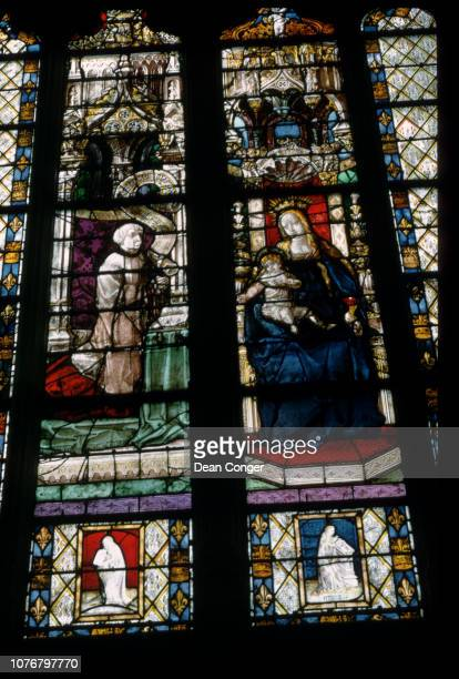 Virgin and Child With Donors From a Lancet Window at Chartres Cathedral