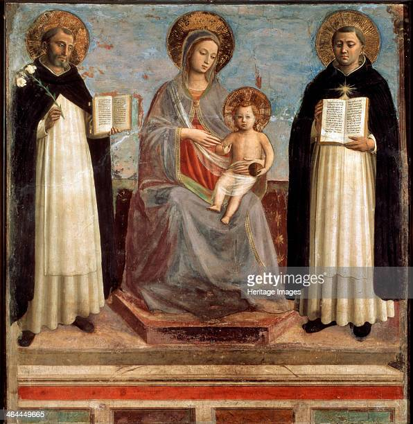'Virgin and Child with Saints Dominicus and Thomas Aquinas' 14241430 Angelico Fra Giovanni da Fiesole Found in the collection of the State Hermitage...