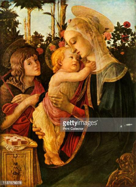Virgin and Child with Young St John the Baptist' 14701475 The Virgin Mary with the infant Jesus and John the Baptist Painting in the Louvre Museum...