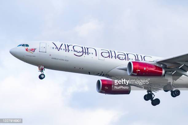 Virgin Atlantic Airbus A330-300 aircraft as seen flying for landing on final approach at London Heathrow LHR EGLL International Airport in England,...
