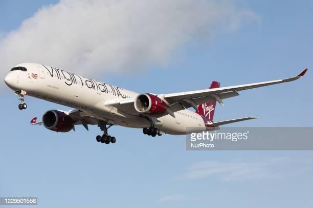 Virgin Atlantic Airbus A350 lands at London Heathrow Airport on 28th October 2020