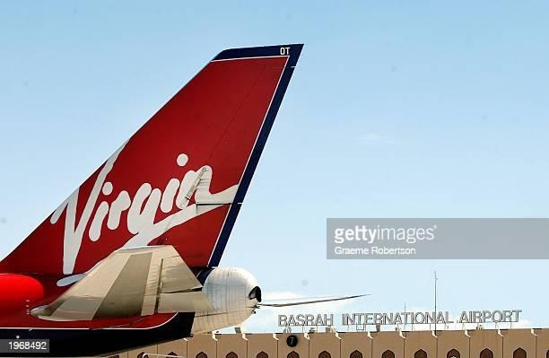 Virgin Atlantic aircraft sits at a gate at the Basrah International Airport May 2 2003 in Basrah Iraq The Virgin Atlantic 747400 was the first...
