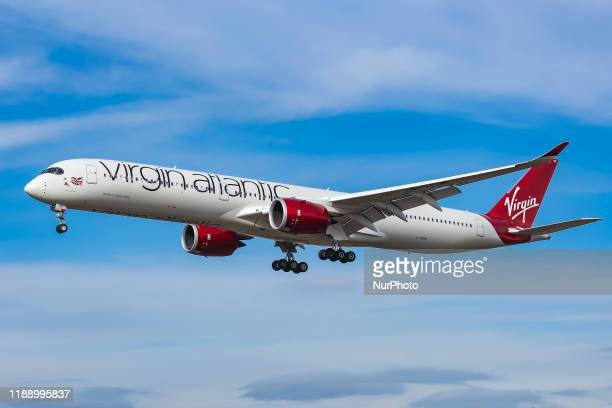 Virgin Atlantic Airways Airbus A350-1000 aircraft as seen on final approach arriving and landing at JFK John F. Kennedy International Airport in NYC,...