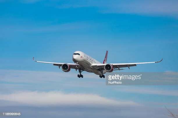 Virgin Atlantic Airways Airbus A3501000 aircraft as seen on final approach arriving and landing at JFK John F Kennedy International Airport in NYC...