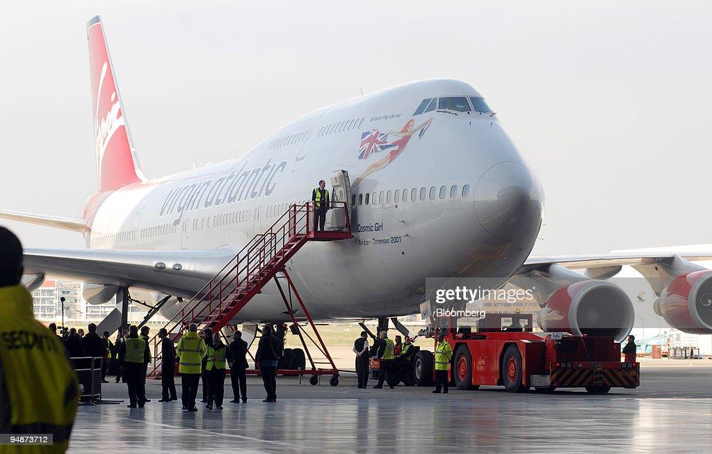 A Virgin Atlantic Boeing 747 jumbo jet sits in a hanger prio : News Photo