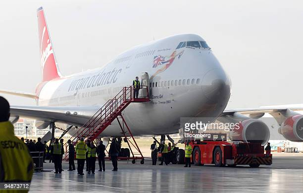 Virgin Atlantic Boeing 747 jumbo jet sits in a hanger prior to takeoff at Heathrow International Airport in London UK on Sunday Feb 24 2008 Virgin...