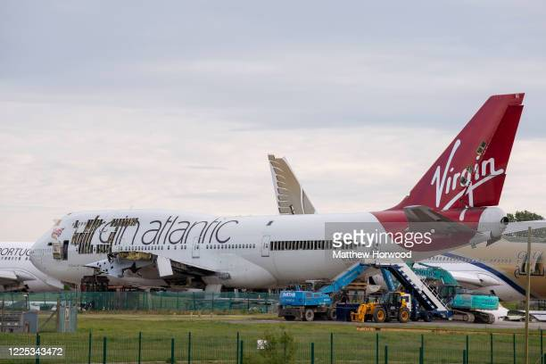 Virgin Atlantic Boeing 747-400 aircraft partially dismantled at St. Athan airport on May 16, 2020 in Cardiff, United Kingdom. Founder Richard...