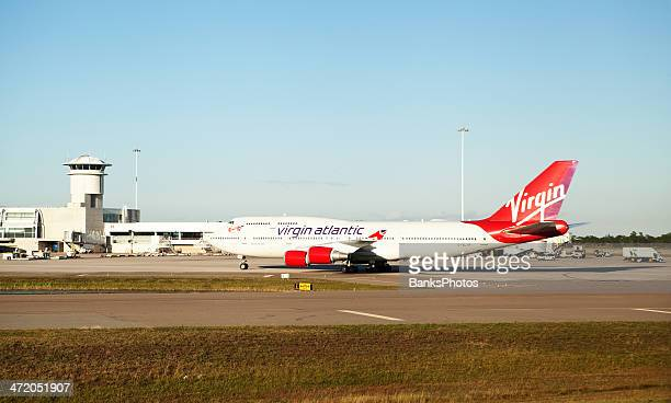 Virgin Atlantic Boeing 747-400 Hot Lips Airplane Taxiing to Terminal
