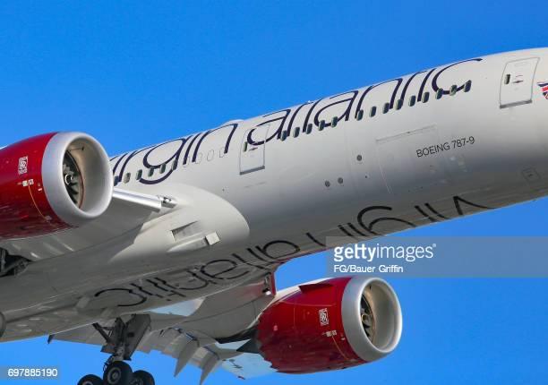 Virgin Atlantic Boeing 787 arrives at Los Angeles International Airport on June 18 2017 in Los Angeles California