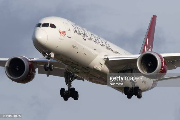 Virgin Atlantic Boeing 787 lands at London Heathrow Airport on 28th October 2020