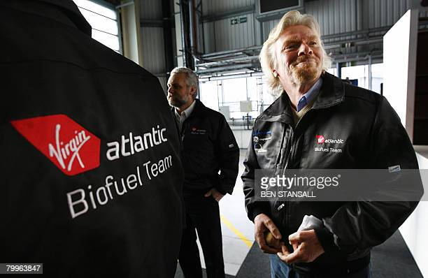 Virgin Atlantic chief Richard Branson is pictured before a press conference in the hangar of a Virgin Atlantic Boeing 747 before the departure of the...
