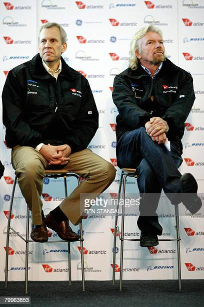 Virgin Atlantic chief Richard Branson poses with Boeing's vicepresident Martin Dailey before the departure of the first test flight using biofuel...