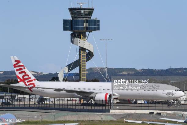 Virgin Australia Boeing 777 sits empty on the tarmac at Sydney Airport on August 05, 2020 in Sydney, Australia. Virgin Australia has announced 3000...