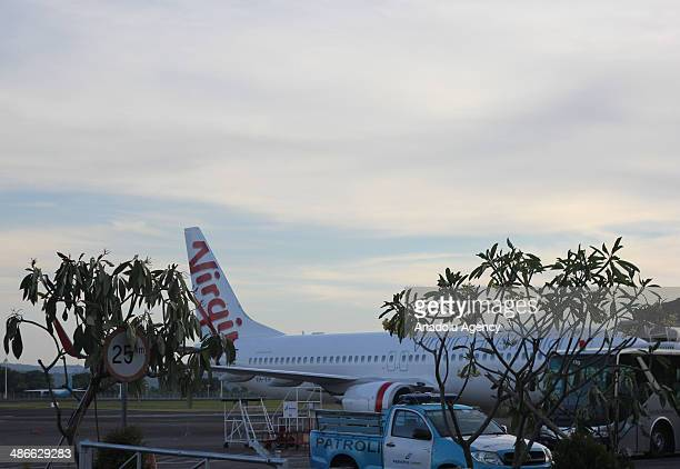Virgin Australia plane is seen at International Ngurah Rai Airport in Bali Indonesia on April 25 2014 An Indonesian airport went on alert Friday as...
