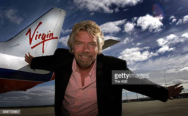 Virgin Blue boss Sir Richard Branson flew into Melbourne 11 July 2000 The AGE Picture by RAY KENNEDY