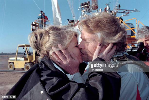 Virgin boss Richard Branson kises his wife Joan goodbye as he sets off in his bid to circumnavigate the globe by balloon from Marrakech Morroco today...