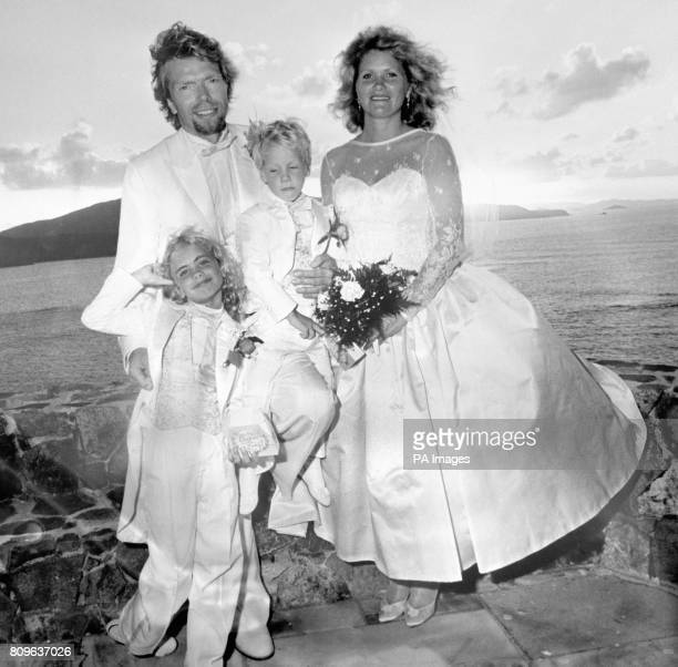 Virgin chairman Richard Branson and his new wife, Joan Templeman, with their children, Holly and Sam, after their wedding on the Caribbean island of...