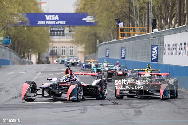 DS Virgin Formule E team French driver Jean Eric Vergne competes during the French stage of the Formule E championship on April 23 in Paris France...