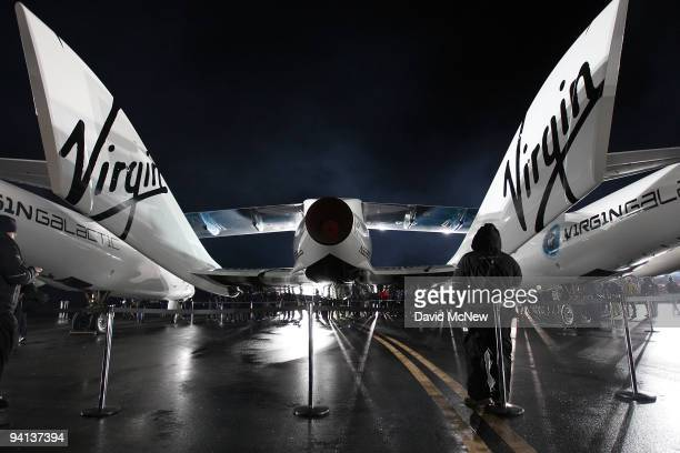 Virgin Galactic unveils its new SpaceShipTwo spacecraft at the Mojave Spaceport on December 7, 2009 near Mojave, California. The eight-person VSS...