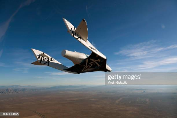 Virgin Galactic vehicle SpaceShipTwo completes it's successful first glide flight at Mojave on October 10, 2010 over Mojave in California.