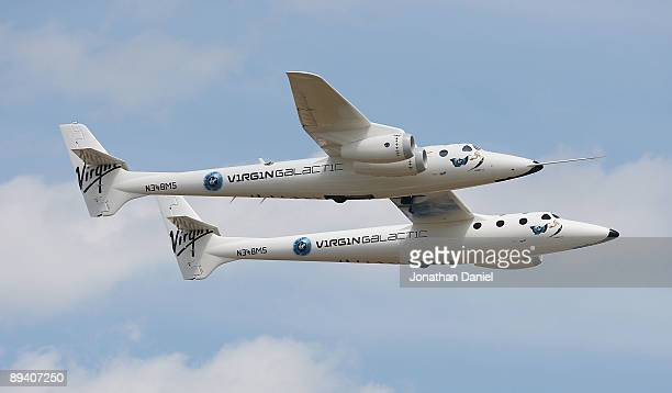 """Virgin Galactic VMS Mothership """"Eve,"""" also known as """"WhiteKnightTwo,"""" a civilian carrier plane that will be used to launch the SpaceShipTwo..."""