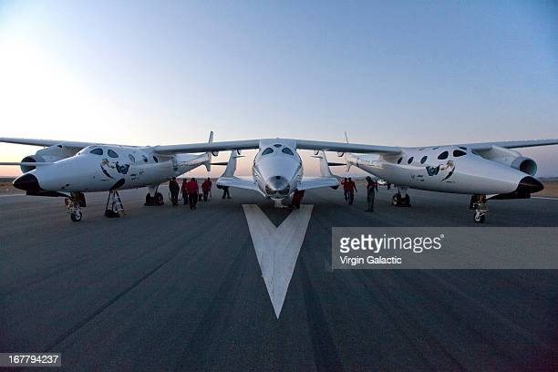 Virgin Galactic WhiteKnight2 carries SpaceShip2 for the first rocket powered flight since the beginning of the program that began in 2005 on April 29...