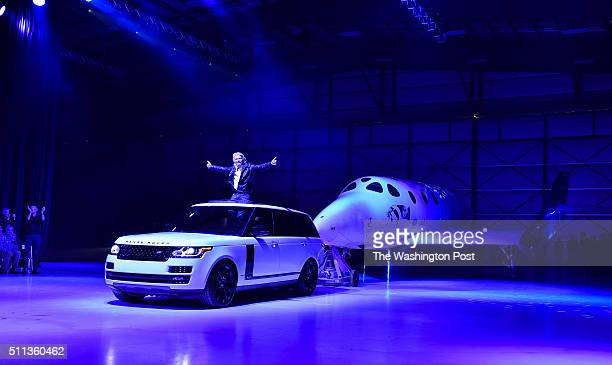 Virgin Galactic's Richard Branson rolls out his new SpaceShip Two VSS Unity during an event at the Mojave Air and Space Port on February 19 2016 in...