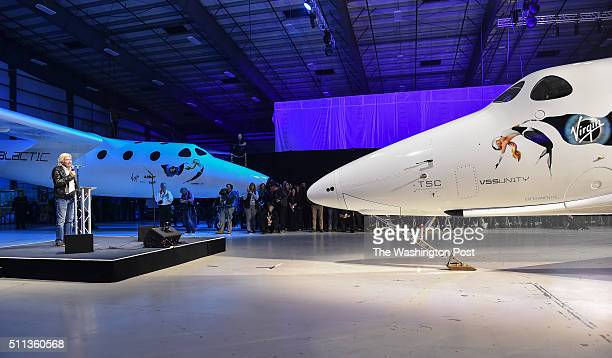 Virgin Galactic's Richard Branson speaks to guest during the rollout ceremony of the new SpaceShip Two VSS Unity spaceship right at the Mojave Air...