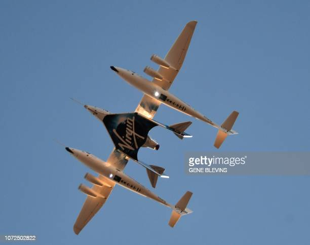 Virgin Galactic's SpaceshipTwo takes off for a suborbital test flight of the VSS Unity on December 13 in Mojave, California. - Virgin Galactic marked...