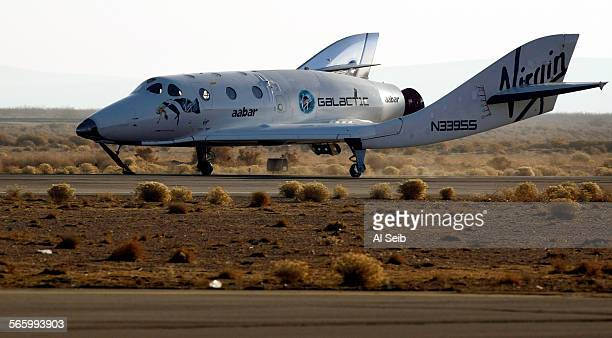 Virgin Galactic's SpaceShipTwo , the world's first commercial spaceline, lands at Moojave airport after successfully completing it's third...
