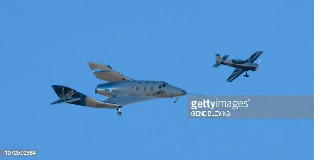 Virgin Galactic's VSS Unity comes in for a landing after its suborbital test flight on December 13 in Mojave, California. - Virgin Galactic marked a...