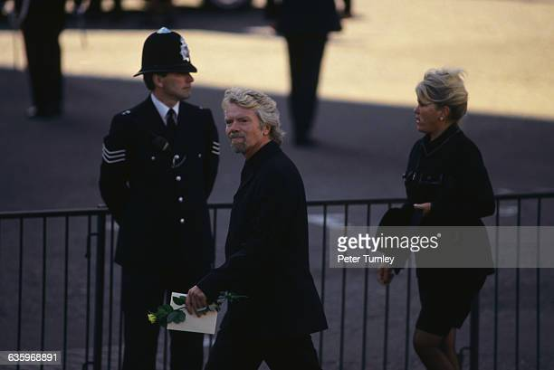 Virgin Group Company President Richard Branson arrives at the funeral of Diana Princess of Wales only seven days after she was killed in an...