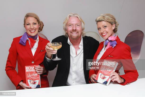 Virgin Group founder Sir Richard Branson attends the Conversations In A Cloud PopUp Business Panel at the Virgin Atlantic Upper Class Bar popup on...