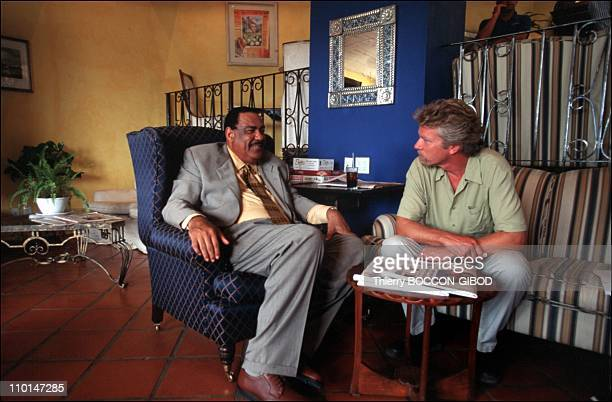 Virgin inaugural flight to the Caribbean in Antigua and Barbuda in September 1998 With the Prime Minister of Antigua
