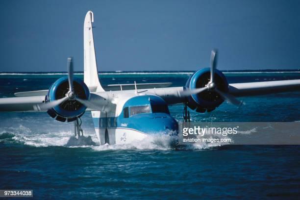 Virgin Island Seaplane Shuttle Grumman G73 Mallard taxiing in the water