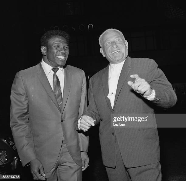 US Virgin Islands boxer Emile Griffith with British boxer promoter Jack Solomons outside Picadilly Hotel London UK 10th September 1964