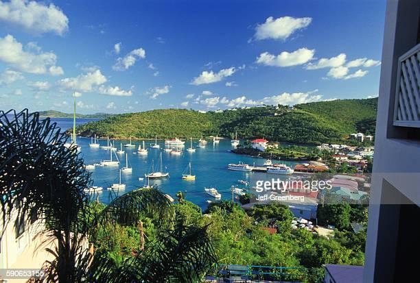 US Virgin Islands St John Cruz Bay Harbor With Many Sailboats